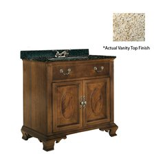 "30"" Dorchester Single Sink Vanity w/ Gold Top - Brown Cherry"