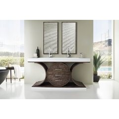 "72.5"" Oasis Double Sink Vanity w/ Bright White Solid Surface Top - Olive Ash Eclipse"