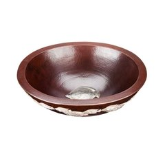 "17"" x 14"" Oceanus Above Counter Bathroom Sink - Black Copper"