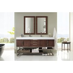"72.5"" Columbia Double Sink Vanity w/ Bright White Solid Surface Top - Coffee Oak"