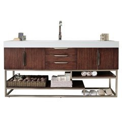"""72.5"""" Columbia Double Sink Vanity w/ Bright White Solid Surface Top - Coffee Oak"""