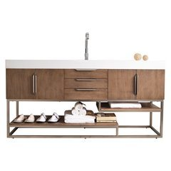 "72.5"" Columbia Double Sink Vanity w/ Bright White Solid Surface Top - Latte Oak"