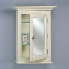 "Wilshire 25"" Semi-Recessed Mirrored Medicine Cabinet-Biscuit"