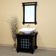 "30"" Vessel Sink Bathroom Vanity - Black/Black Top"