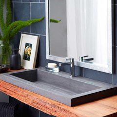 "36"" x 19"" Trough Drop-In Bathroom Sink - Slate"