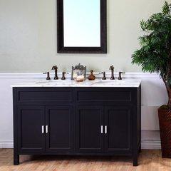 """60"""" Double Sink Bathroom Vanity - Ebony/White Top"""