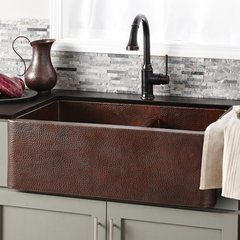 "33"" x 22"" Farmhouse Double Bowl Kitchen Sink-Antique Copper"