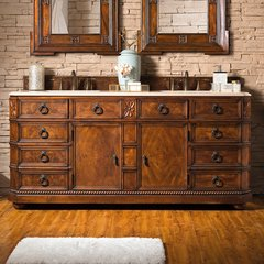 "71"" Regent Double Vanity w/Galala Beige Top-English Burl"