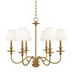Menlo Park 6 Light Chandelier - Aged Brass