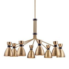 Solaris 8 Light Chandelier - Aged Brass
