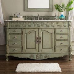 "60"" St. James Single Vanity w/Carrara White Top-Celadon"