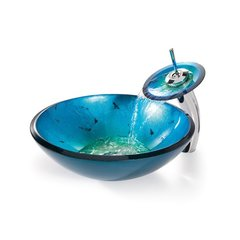 "16"" Irruption Blue Vessel Sink w/ Faucet - Chrome"