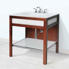 """31"""" Park Avenue Single Sink Bathroom Vanity - Medium Walnut"""