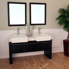 """57"""" Double Sink Bathroom Vanity - Black/White Top"""