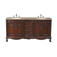 "72"" Saturn Double Vanity - Dark Cherry/Travertine Top"