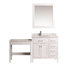 "36"" London Single Sink Vanity w/ Make-up Table - White"
