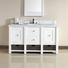 "60"" Madison Single Vanity w/ Carrara White Top-Cott White"