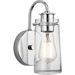 Braelyn 1 Light Wall Sconce Clear Seeded 60W - Chrome