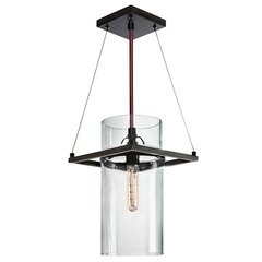 Square Ring 1-Light Pendant - Satin Black