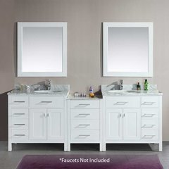 "92"" London Double Sink Bathroom Vanity - White"