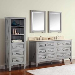 "61"" Kelly Double Vanity - Grayish Blue w/ Galala Beige Top"