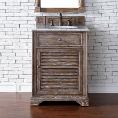 "26"" Savannah Single Vanityw/ Carrara White Top-Driftwood"