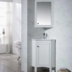 "25"" Monte Corner Single Vanity - White/White Top"