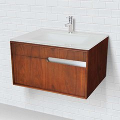 "29-3/5"" Cityscape Wallmount Vanity w/ Glass Top - Walnut"