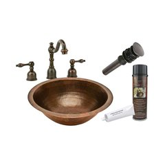 "17"" x 17"" Round Undermount Sink Package - Oil Rubbed Bronze"
