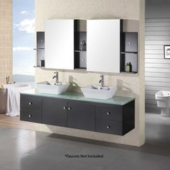 "72"" Portland Double Vessel Sink Bathroom Vanity - Espresso"