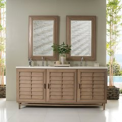 "72"" Portland Double Vanity Cabinet Only-White Washed Walnut"