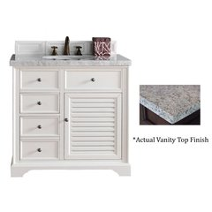 "36"" Savannah Single Vanity w/Santa Cecilia Top-Cottage White"