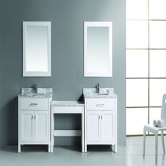 "Two 30"" London Single Sink Vanity w/ Make-up Table - White"
