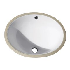 "18"" x 15"" Oval Undermount Bathroom Sink - White"
