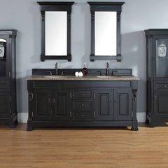 """72"""" Brookfield Double Vanity w/ Santa Cecilia Top-Ant. Black"""