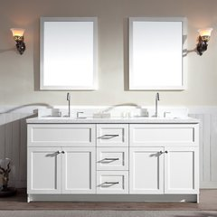 "73"" Hamlet Double Sink Vanity w/ White Quartz Top - White"
