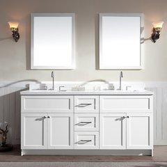 "73"" Hamlet Double Sink Vanity w/ White Quartz Top - White"