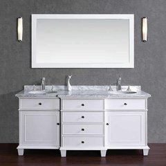 "72"" Cadence Double Vanity - White/Carrara White Top"