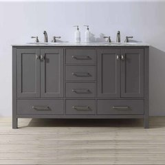 "60"" Malibu Double Vanity - Gray/Carrara White Top"