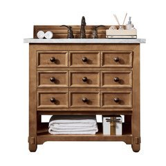 "36"" Malibu Single Sink Vanity w/ Solid Surface Top - Honey Alder"