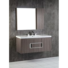 48 Inch Gray Brownish Oak Vanity with Ceramic Top and a Rectangular Sink