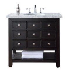"36"" Vancouver Single Sink Vanity w/ Marble Top - Cerused Espresso Oak"