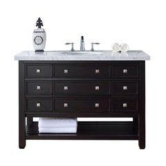 "48"" Vancouver Single Sink Vanity w/ Marble Top - Cerused Espresso Oak"