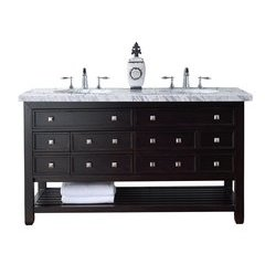 "60"" Vancouver Double Sink Vanity w/ Solid Surface Top - Cerused Espresso Oak"