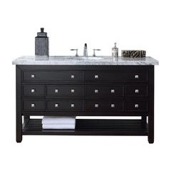 "60"" Vancouver Single Sink Vanity w/ Quartz Top - Cerused Espresso Oak"
