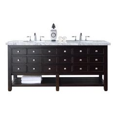 "72"" Vancouver Double Sink Vanity w/ Marble Top - Cerused Espresso Oak"