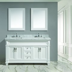 "60"" Hudson Double Sink Bathroom Vanity w/ Carrara Top -White"