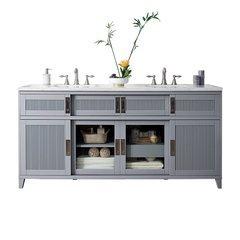 "72"" Brisbane Double Sink Vanity w/ Marble Top - Silver Gray"