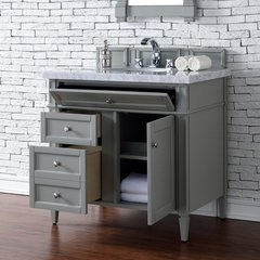 "36"" Brittany Single Vanity w/Cararra White Top - Urban Gray"