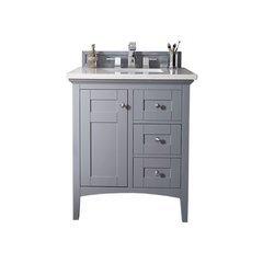 """30"""" Palisades Single Sink Vanity w/ Quartz Top - Silver Gray"""